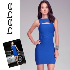 Bebe Royal Blue Bandage/Bodycon Dress w/ Cutout